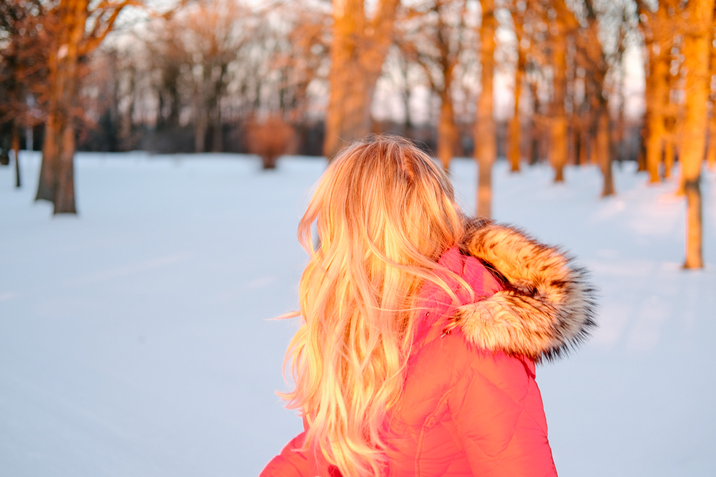 Debora Dahl in the snow with the sunset on her hair