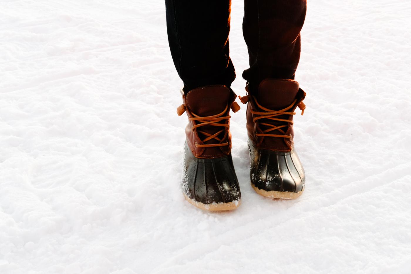 Debora Dahl wearing duck boots