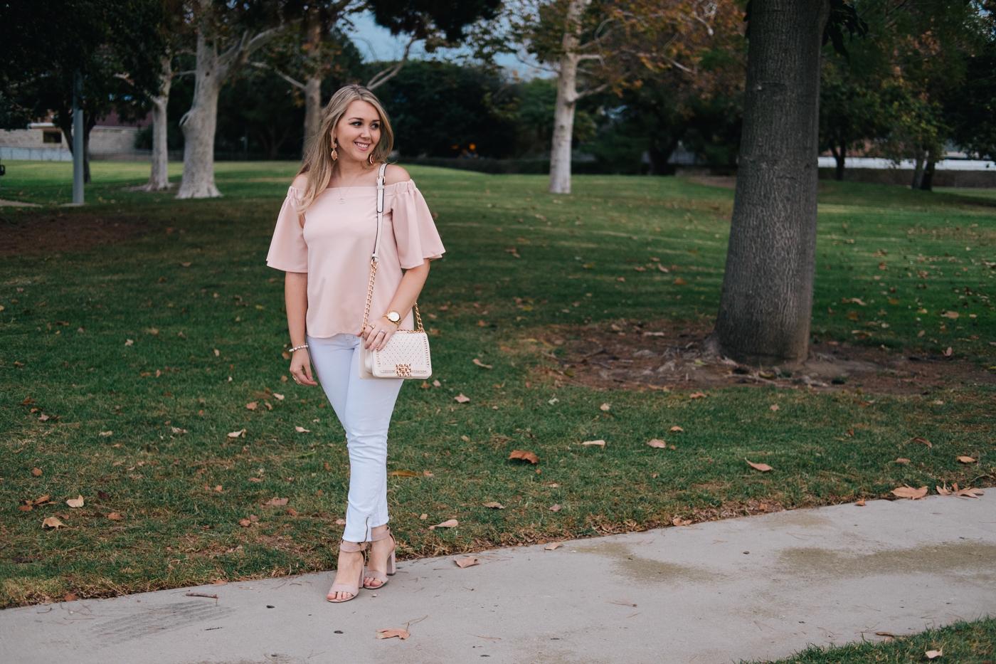 Debora Dahl at the park wearing off the shoulder blouse in pastel colors