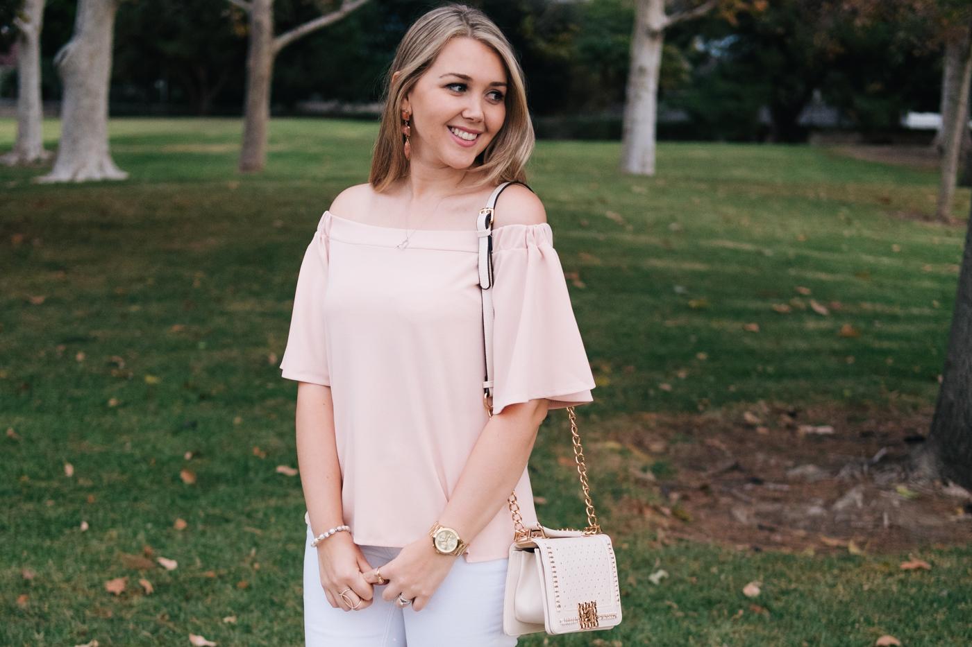 Debora Dahl off the shoulder pink top