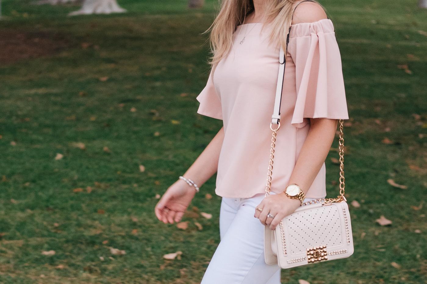 Debora Dahl wearing dresslily off the shoulder pink top