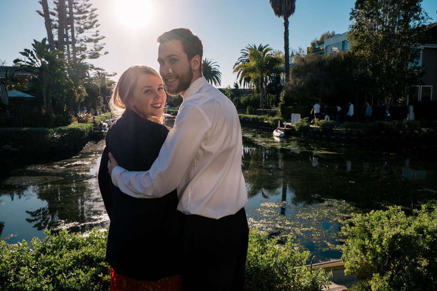 Benjamin puts his suit coat on Debora Dahl for Valentines Day at the Venice Canals