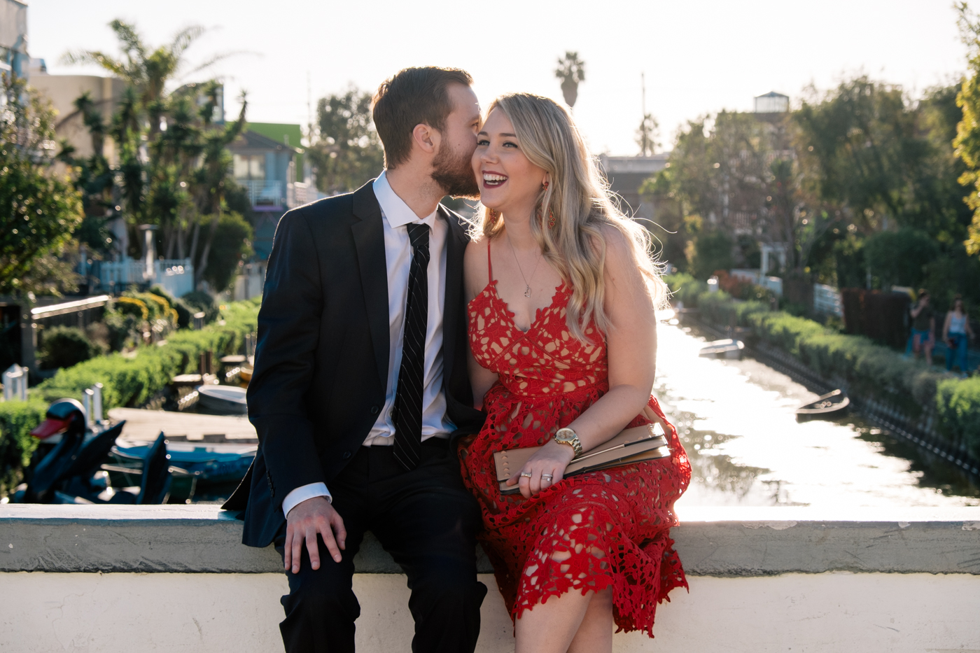 Benjamin and Debora Dahl at the venice Canals in Los Angeles