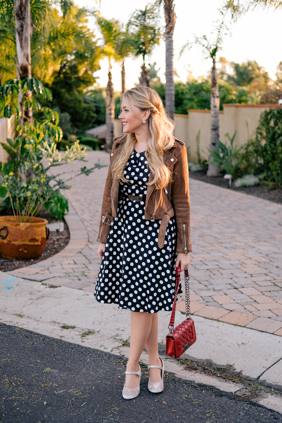 Debora Dahl polka dot dress and brown suede jacket
