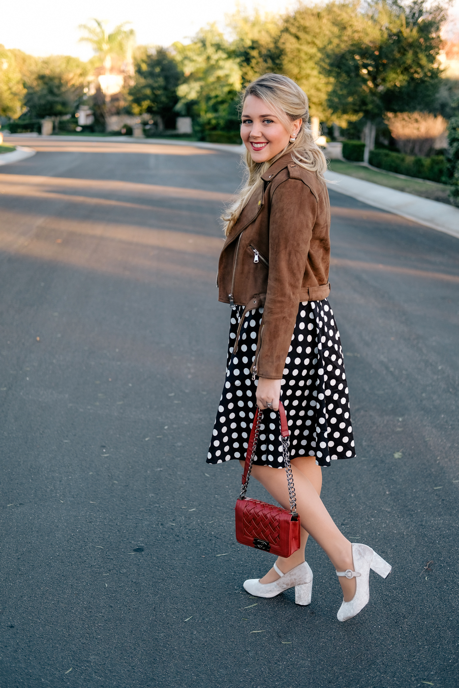 Debora Dahl polka dot dress brow suede jacket and velvet shoes
