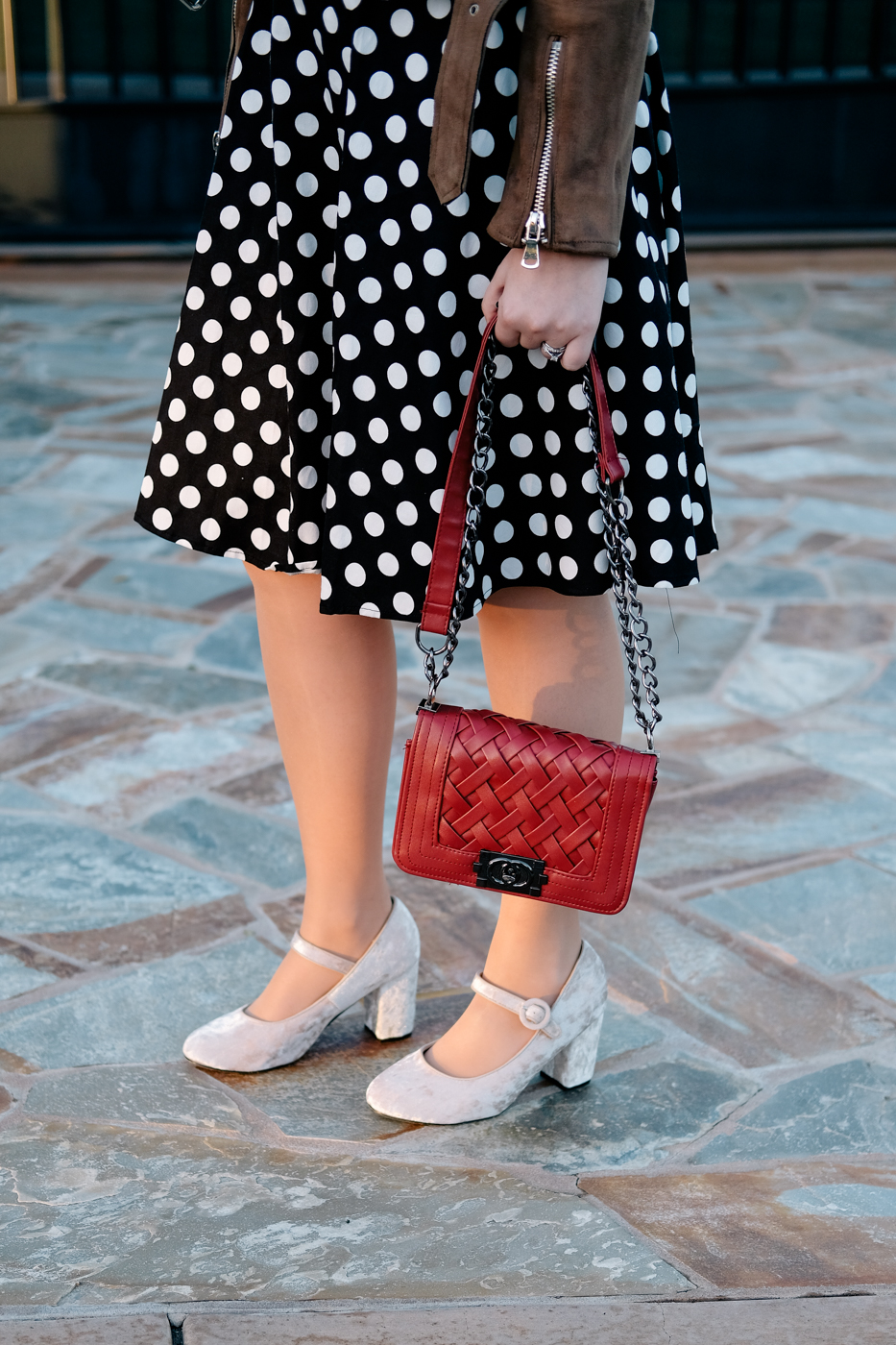 Debora Dahl velvet shoes and polka dot dress