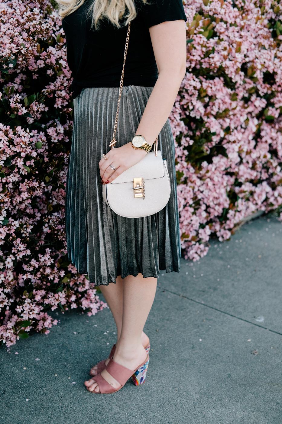 Debora Dahl, metallic skirt
