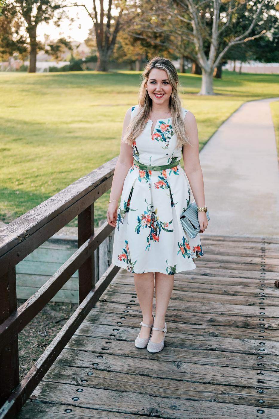 Debora Dahl, white floral dress