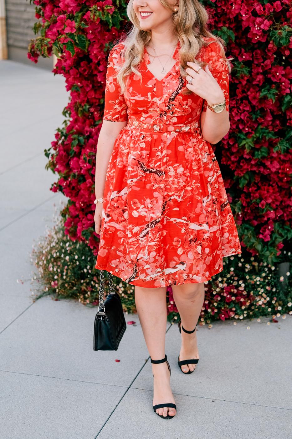 Debora Dahl, red dress, black heels
