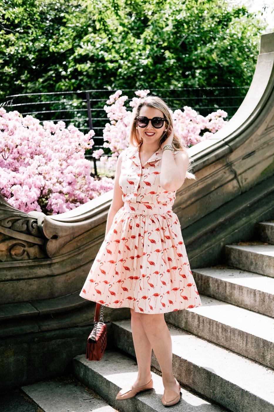 Debora Dahl, Central Park, Spring, Flamingo dress