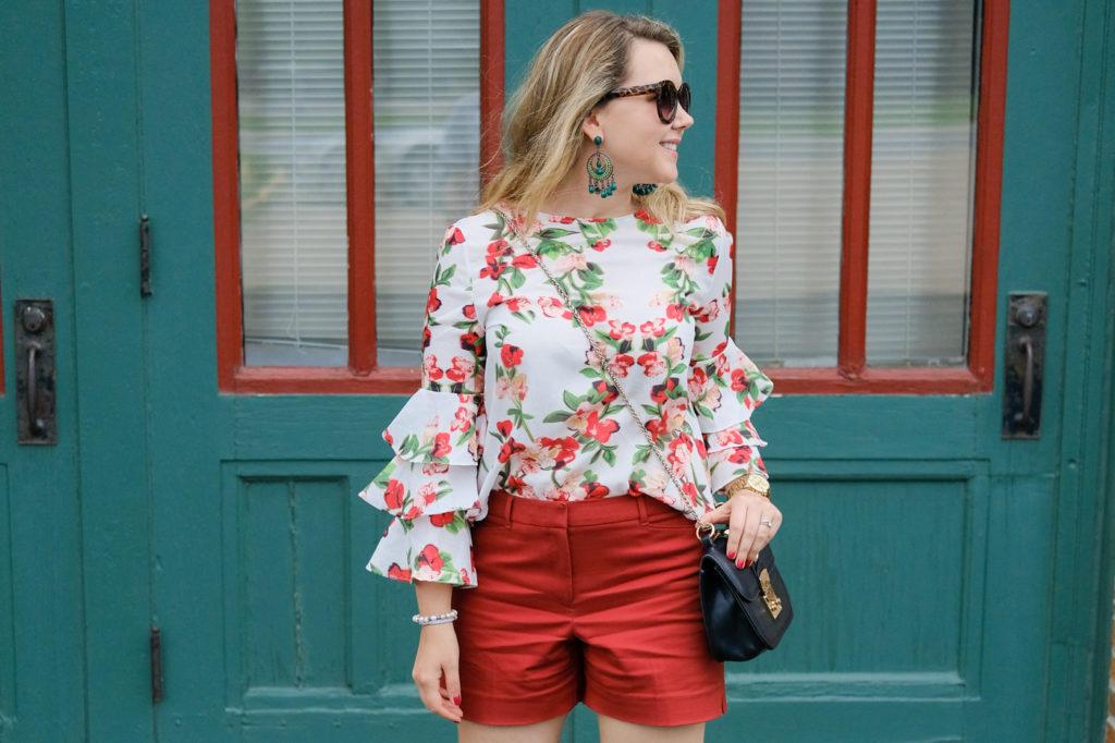 Deborah Dahl, ruffled blouse, spring style